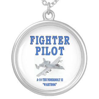 A-10 THUNDERBOLT II SILVER PLATED NECKLACE