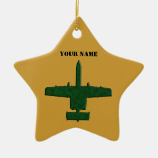 A-10 Warthog Silhouette Green Camo Airplane Double-Sided Star Ceramic Christmas Ornament