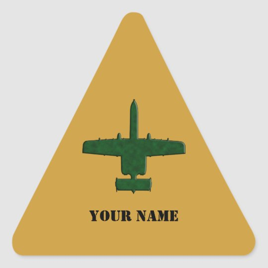 A-10 Warthog Silhouette Green Camo Airplane Triangle Sticker