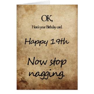 A 19th birthday for a nag card