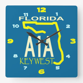 A-1-A Key West Square Wall Clock