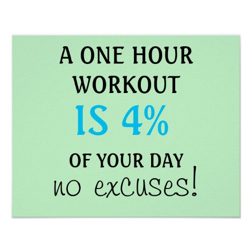 A 1 hour workout is 4% of your day poster posters