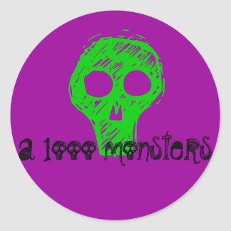 a 1ooo monsters classic round sticker