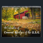 "A 2018 Calendar of Covered Bridges in the U.S.A.<br><div class=""desc"">This calendar is full of beautiful photographs of covered bridges throughout the U.S.A. Highlights are the Pisgah Bridge in North Carolina, Lancaster County Pennsylvania, the Humpback Bridge in Virginia, Watson Mill Bridge State Park in Georgia, and West Cornwall Connecticut. Other bridges in Vermont, Alabama, Oregon, New Hampshire, and Maine are...</div>"