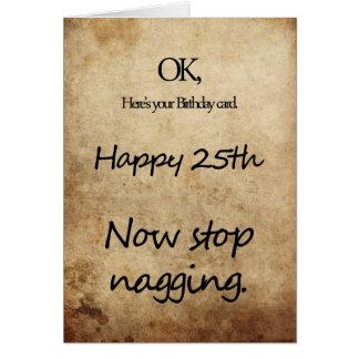 A 25th birthday for a nag card