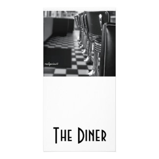 A 4x8 card in Black and White with an old diner