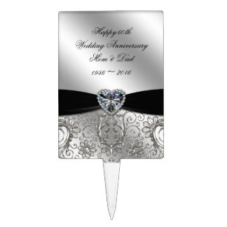 A 60th Diamond Wedding Anniversary Cake Topper