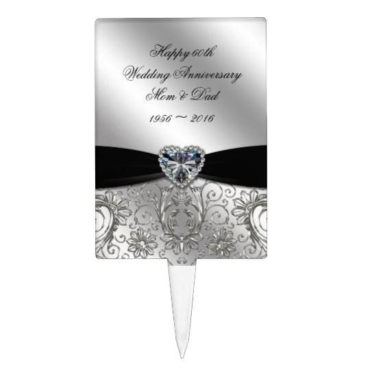 Personalised Wedding Anniversary Gifts Nz : 60th Diamond Wedding Anniversary Cake Topper Zazzle