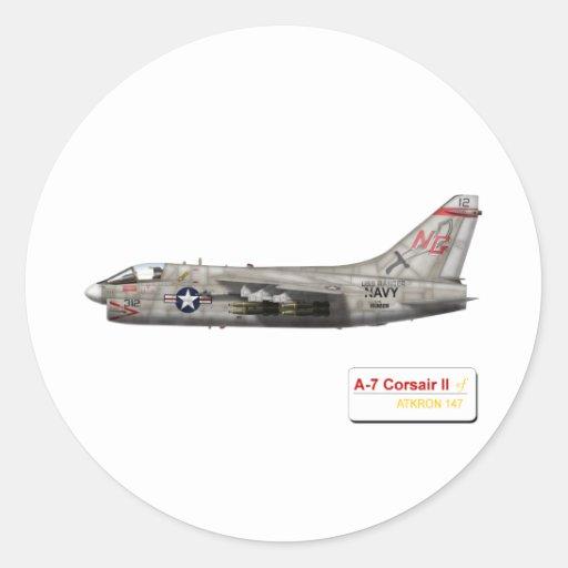 A-7 argonautas VA-147 del corsario II Pegatina Redonda