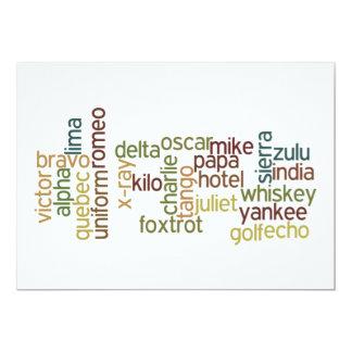 """A a telefonía del alfabeto fonético de Z (Wordle) Invitación 5"""" X 7"""""""