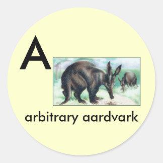 A - aardvark arbitrario pegatina redonda