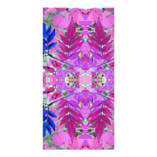 A abstract Pink Blue Floral Pattern Card