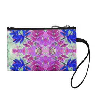 A abstract Pink Blue Floral Pattern Coin Purse