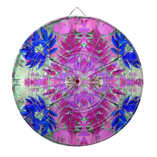 A abstract Pink Blue Floral Pattern Dartboard With Darts
