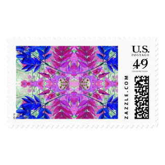 A abstract Pink Blue Floral Pattern Postage