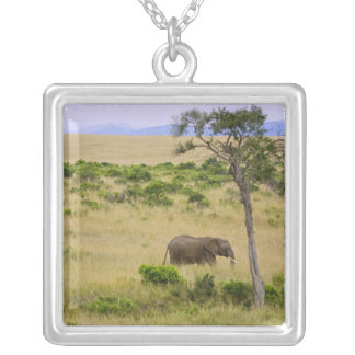 A African Elephant grazing in the fields of the 2 Square Pendant Necklace