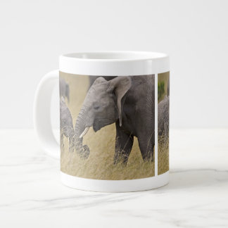 A African Elephant grazing in the fields of the Extra Large Mug