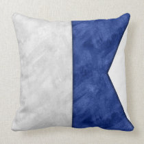 A Alfa / Alpha Watercolor Nautical Signal Maritime Throw Pillow