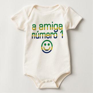 A Amiga Número 1 in Brazilian Flag Colors 4 Girls Baby Bodysuit