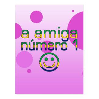 A Amiga Número 1 in Brazilian Flag Colors 4 Girls Postcard