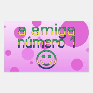 A Amiga Número 1 in Brazilian Flag Colors 4 Girls Rectangular Sticker