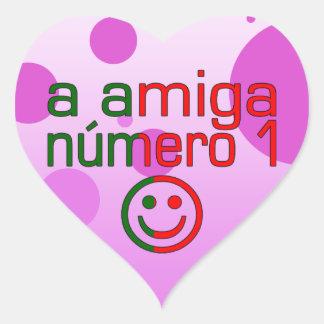 A Amiga Número 1 in Portuguese Flag Colors 4 Girls Heart Sticker