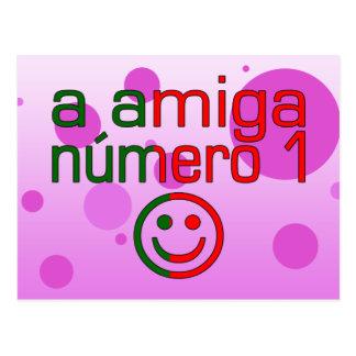 A Amiga Número 1 in Portuguese Flag Colors 4 Girls Postcard