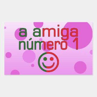 A Amiga Número 1 in Portuguese Flag Colors 4 Girls Rectangular Sticker