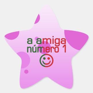 A Amiga Número 1 in Portuguese Flag Colors 4 Girls Star Sticker