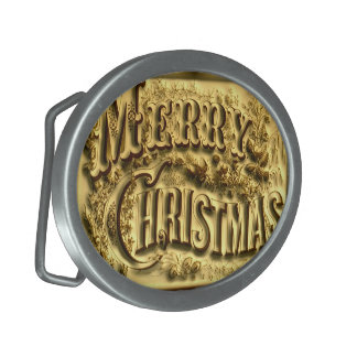 A and Merry Christmas Belt Buckle