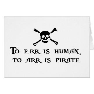 A Arr es el pirata Tarjeta De Felicitación