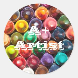 A+ Artist Crayons Classic Round Sticker