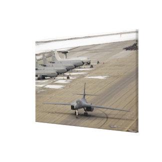 A B-1B Lancer arrives at Eielson Air Force Base Canvas Print