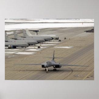 A B-1B Lancer arrives at Eielson Air Force Base Poster