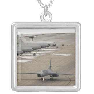 A B-1B Lancer arrives at Eielson Air Force Base Silver Plated Necklace