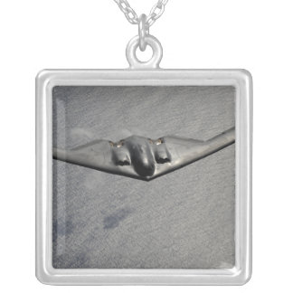 A B-2 Spirit flies over the Pacific Ocean Silver Plated Necklace