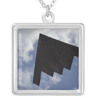 A B-2 Spirit in flight Silver Plated Necklace