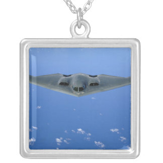 A B-2 Spirit soars through the sky Silver Plated Necklace