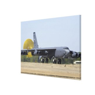 A B-52 Stratofortress deploys its drag chute Canvas Print