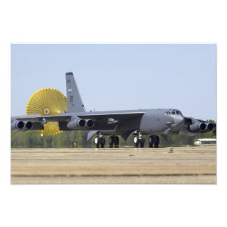A B-52 Stratofortress deploys its drag chute Photo Print