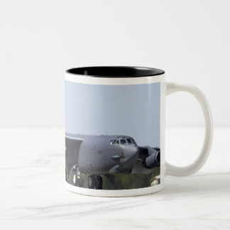 A B-52 Stratofortress deploys its drag chute Two-Tone Coffee Mug