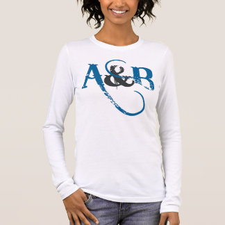 A&B LOGO LETTERS BLUE LONG SLEEVE T-Shirt