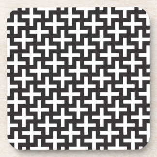 A b&w patterns made with 'plus' sign drink coaster