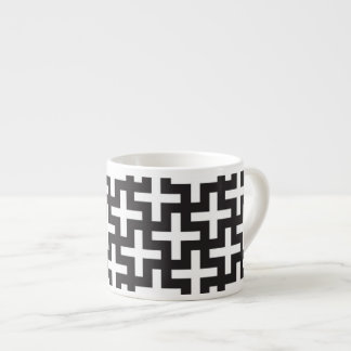 A b&w patterns made with 'plus' sign espresso cup