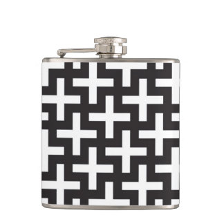 A b&w patterns made with 'plus' sign flask