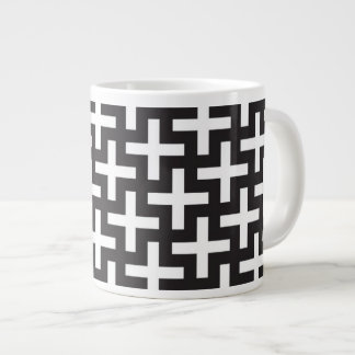 A b&w patterns made with 'plus' sign giant coffee mug