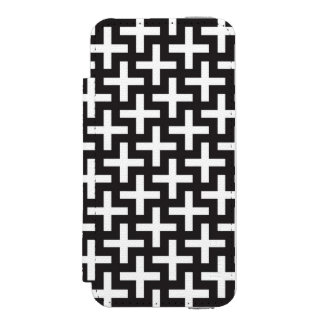 A b&w patterns made with 'plus' sign iPhone SE/5/5s wallet case