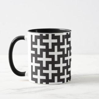 A b&w patterns made with 'plus' sign mug