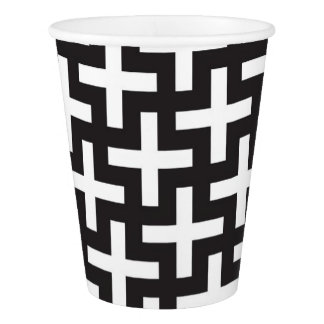 A b&w patterns made with 'plus' sign paper cup