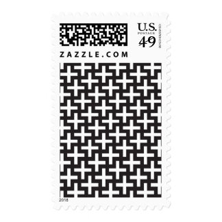 A b&w patterns made with 'plus' sign postage stamp